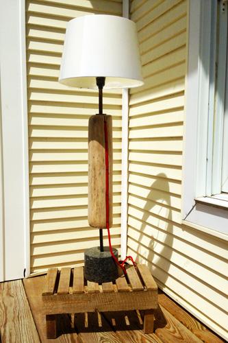 Mo-fer - Vert Partout - Lampe en bois flottant, au fil rouge